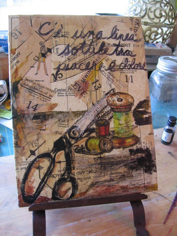Original mixed media  Art  A Fine Line Between by ReCultivation,