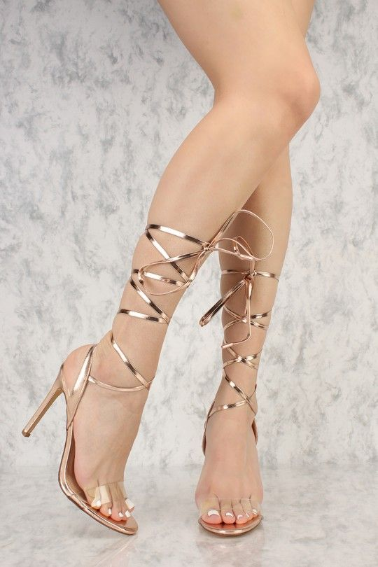 Rose Gold Strappy Lace Tie Clear Open Toe Single Sole High Heels Faux Leather