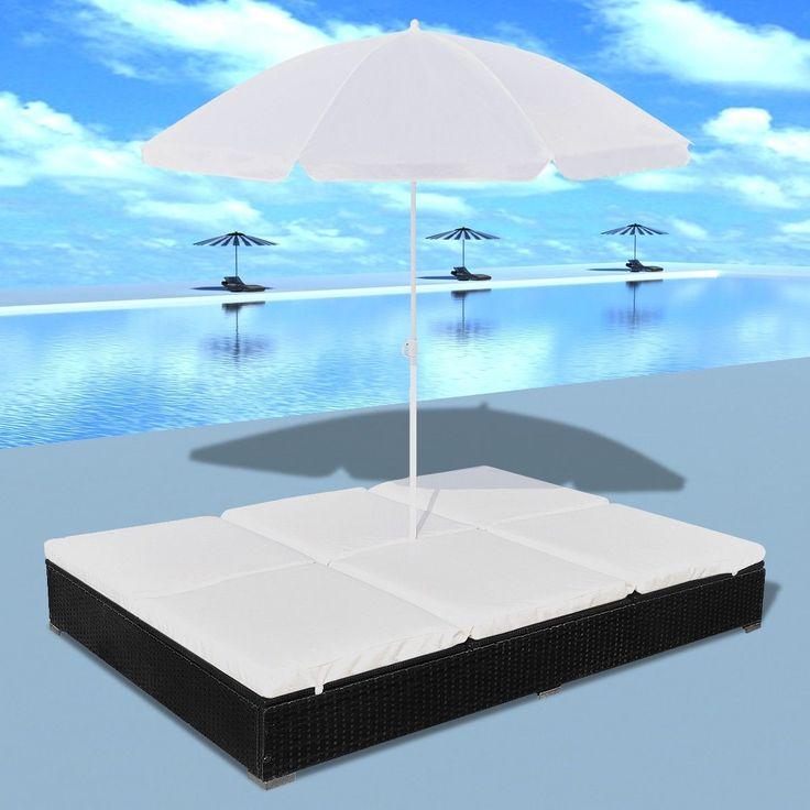 FINN – Utendørs svart luksus himmelseng for 2 personer med parasoll (41360)