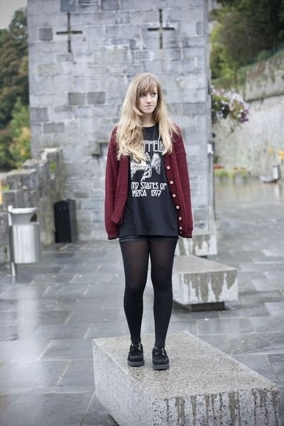 love this Led Zeppelin shirt paired with a chunky cardigan