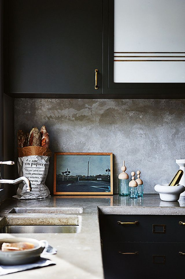 Love the concrete counters and that backsplash finish...swoon! Claire Delmar Sydney home | French By Design