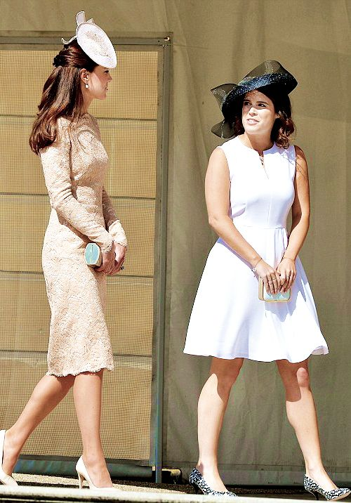 6/10/14 Kate with Princess Eugenie at a Buckingham Palace garden party.: