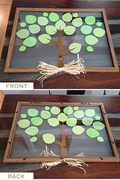 "Woodlands Baby Shower theme.  Instead of a guestbook, Get a document frame (from a craft store), Paint a tree trunk on the inside pane of glass, Use a cricut (or whatever you've got) to cut out paper leaves. At the shower, write ""Wishes for the Baby"" on paper leaf cutouts. Attach leaves using double sticky photo mount tape between the panes. Makes a great baby room decoration. When the child gets older they can turn the picture around to read all the wishes their loved ones had for them…"