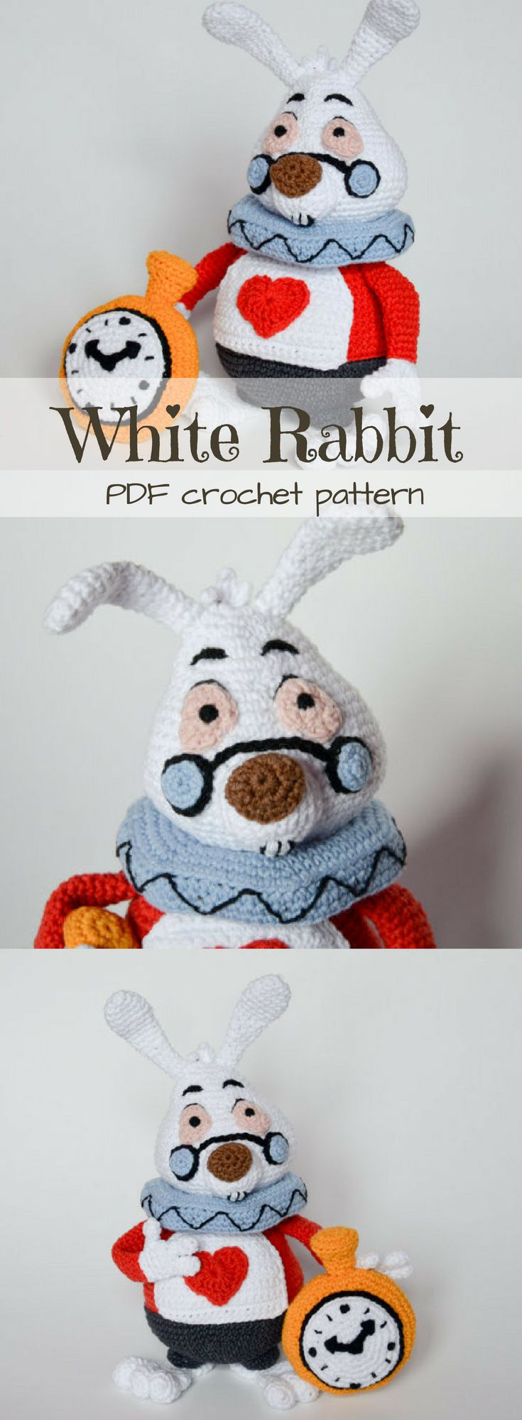 Alice in Wonderland White Rabbit stuffed toy crochet pattern. I love the little clock! He is such a good rendering of the Disney character! This amigurumi pattern looks so fun to make! #etsy #ad #doll #crochet #pdf #pattern #instantdownload