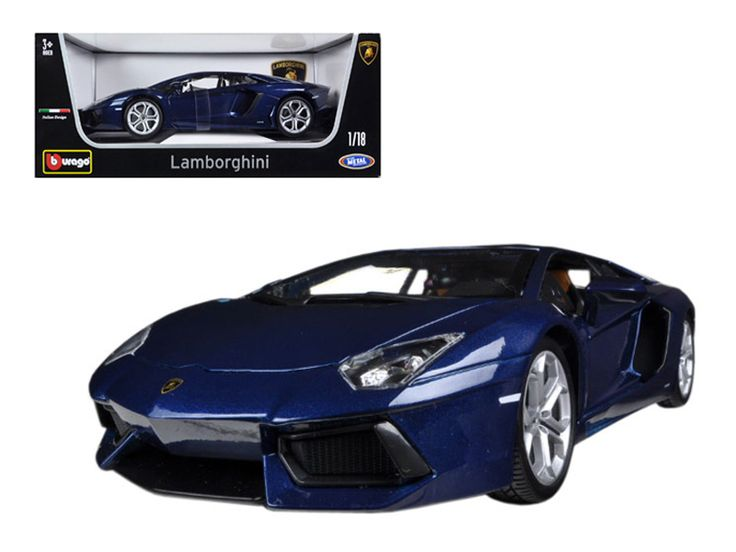 2012 Lamborghini Aventador LP700-4 Blue 1/18 Diecast Car Model by Bburago - Brand new 1:18 scale diecast model car of 2012 Lamborghini Aventador LP700-4 Blue die cast model car by Bburago. Brand new box. Rubber tires. Has opening hood, doors and trunk. Made of diecast with some plastic parts. Detailed interior, exterior, engine compartment. Dimensions approximately L-10, W-4, H-3.5 inches. Please note that manufacturer may change packing box at anytime. Product will stay exactly the…