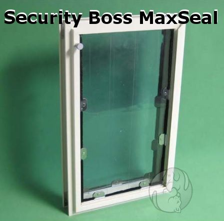 """The Security Boss MaxSeal Pet Door is the best insulating, sealing and security door available. UV treated and weatherized vinyl flaps help ensure an air tight seal! The flaps are held to the industrial aluminum frame that is powder coated in 10 frame colors. 10 pet opening sizes available, accommodating any breed. Fits doors 1 1/4"""" to 2"""". http://www.moorepet.com/MaxSeal-Door-Mount-Pet-Doors-s/195.htm"""