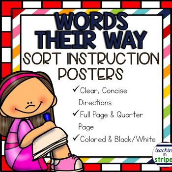 This file includes four word sort instruction posters to be used with Words…