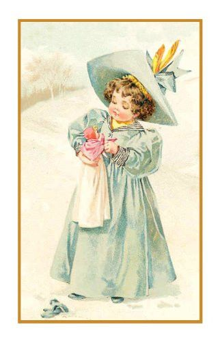 Young Girl Playing Doll Snow by Maud Humphrey Bogart Counted Cross Stitch or Counted Needlepoint Pattern