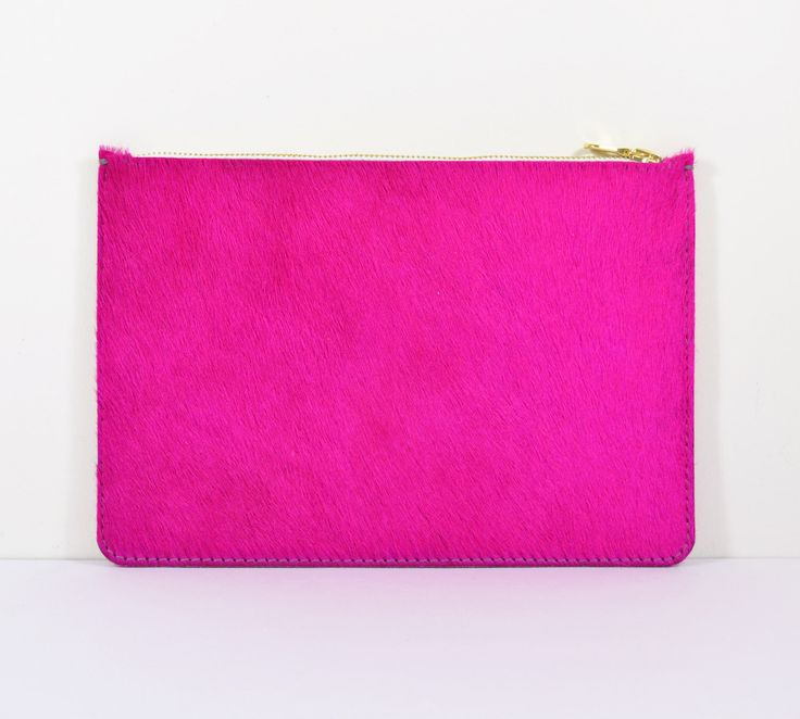 Coralie - Handmade Pink Hair On Hide Leather Clutch Bag Zip Pouch Purse AW14 by delacyonline on Etsy https://www.etsy.com/listing/199879678/coralie-handmade-pink-hair-on-hide
