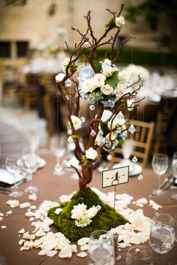 Manzanita branches centerpieces (attached to plywood), flower poms, moss and crystal teardrops