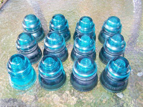 Lot of 12 Hemingray 42 Blue Glass Insulators   eBay