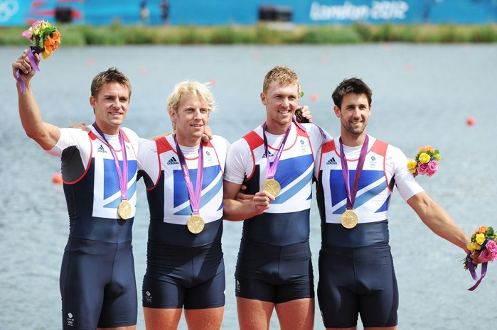 Pete Reed, Andrew Triggs Hodge, Alex Gregory and Tom James of Great Britain celebrate with their gold medals during the medal ceremony for the Men's Four Final on Day 8 of the London 2012 Olympic Games at Eton Dorney on August 4, 2012 in Windsor, England.