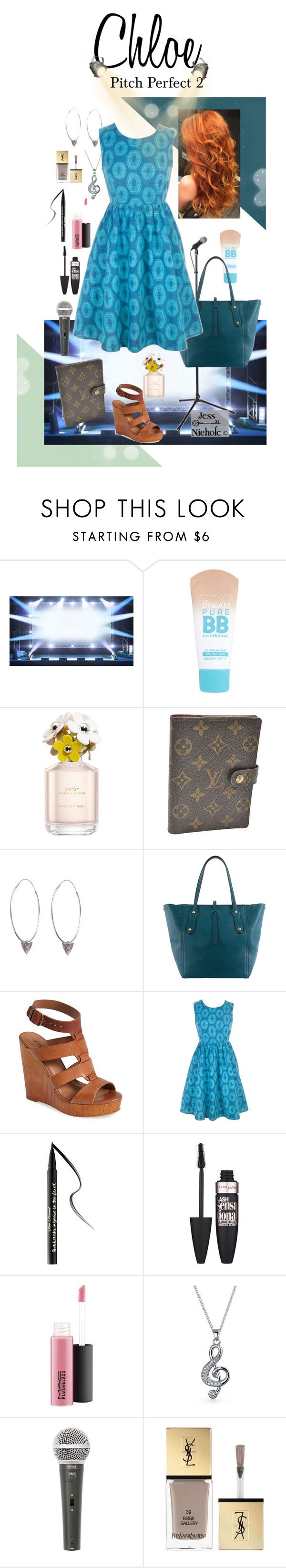 """Pitch Perfect 2: Chloe"" by jess-nichole ❤ liked on Polyvore featuring Maybelline, Marc Jacobs, Louis Vuitton, Rachel Entwistle, Annabel Ingall, Lucky Brand, Too Faced Cosmetics, MAC Cosmetics, Bling Jewelry and Galaxy Audio"