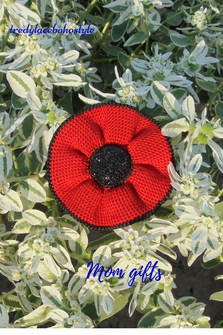 Red Crochet Brooch Mom Gift Easter Art Jewelry Flower Boho Spanish Style