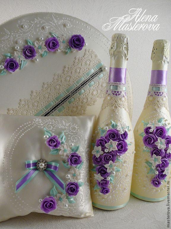 Купить или заказать Свадебный набор аксессуаров  ' Аромат весны' в интернет-магазине на Ярмарке Мастеров. Свадебный набор аксессуаров в цвете айвори и сирень.…
