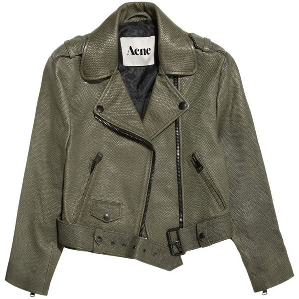 Acne Mape cropped lizard-embossed leather jacket ($1,255) ❤ liked on Polyvore