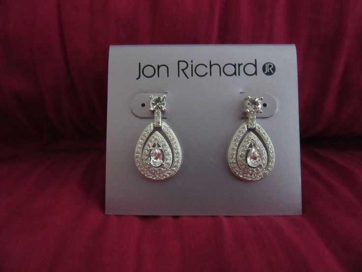 Stunning pair of Jon Richard earrings. I bought these for a formal event but changed my mind. Brand new and never worn. Original retail price was £20. They are silver tone (I don't think they are sterling silver) with cubic zirconia stones. | eBay!