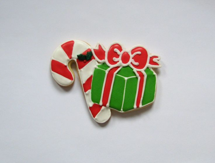christmas candy cane with gift cookies