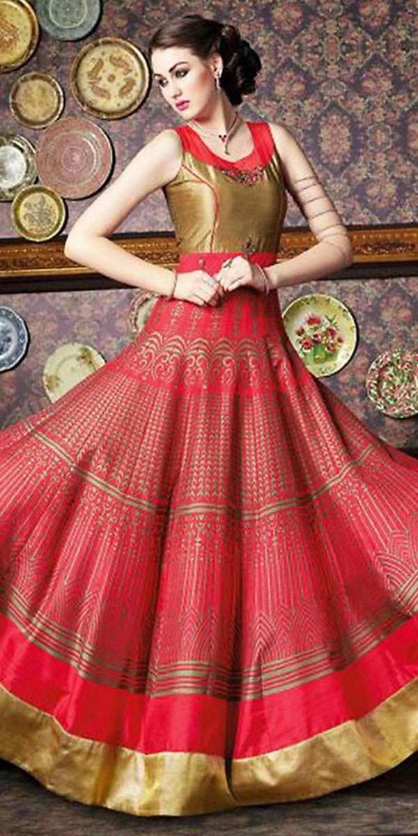 Scintillating Pink Silk Anarkali Suit With Dupatta.