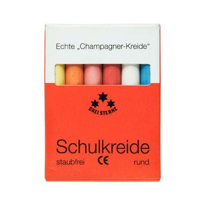 SCHULKREIDE CHAMPAGNE COLORED CHALK...This highly pigmented chalk is made from the finest calcium carbonate, mined in the Champagne region of France. They are thin to allow for delicate lines and are in a range of bright colors. White chalk included to blend with. Also, no dust! Generations of German school children have grown up with this chalk.