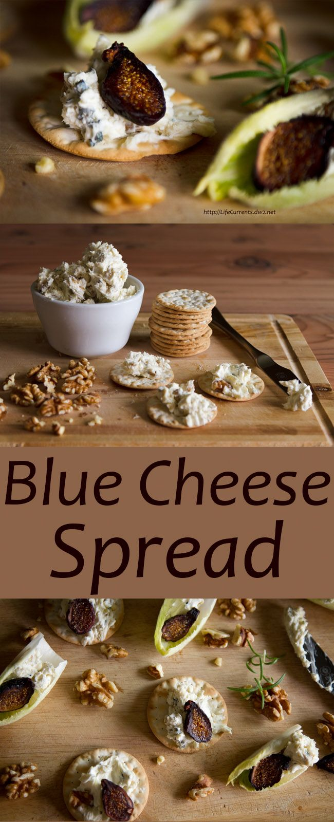 Blue Cheese Spread by Life Currents is super yummy and really easy to whip together, your guests will think you're a genius. Serve it with crackers, endive, figs, honey, whatever you can come up with!