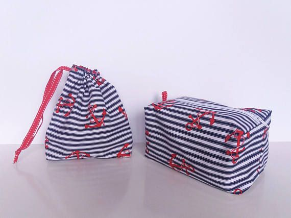 Navy themed gift bags.Navy and red pouch.Nautical Theme