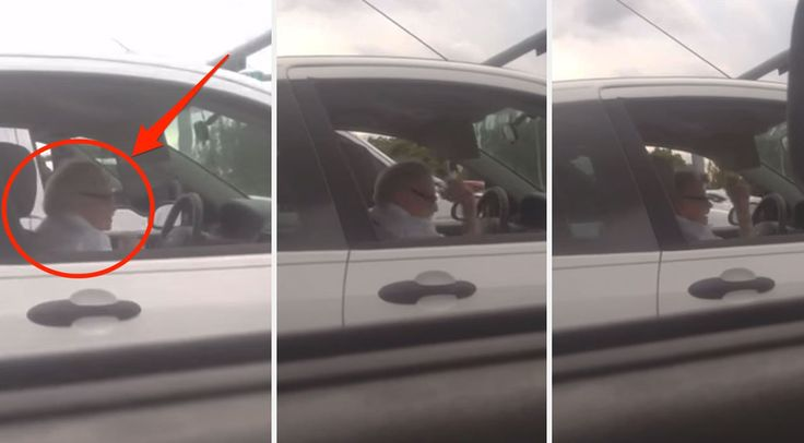 Grandpa Rocks Out HARD To ACDC While Stopped At A Red Light