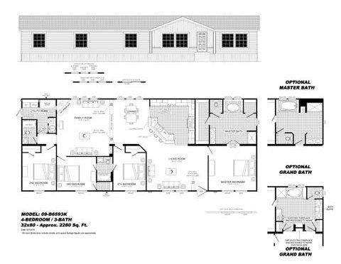 4 Bedroom Floor Plan 09 B6593k Hawks Homes Manufactured Modular Conway Little Rock