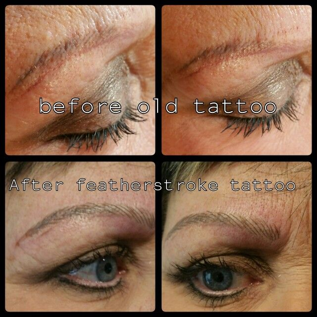 Before and after featherstroke Brows. Brows by Billie