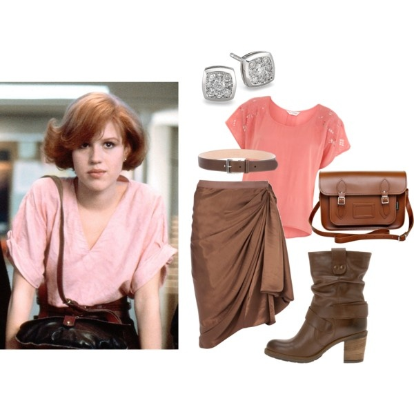 The Breakfast Club Fashion. Here's another iconic style from the 80's brat pack film, The Breakfast club! This outfit is inspired by Molly Ringwald's main ensemble from the film. A great outfit for a day at school or going out shopping. Created by hollywoodplayer on Polyvore