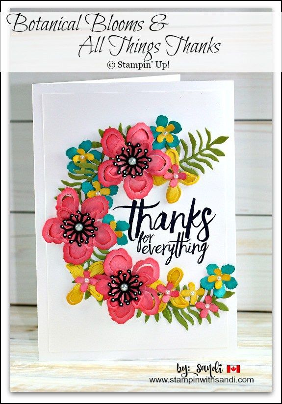 handmade card by Sandi MackIver: Botanical Blooms For Autism Matters Blog Hop ... gorgeous die cut flowers forma a half circle spray ... Stampin' Up!
