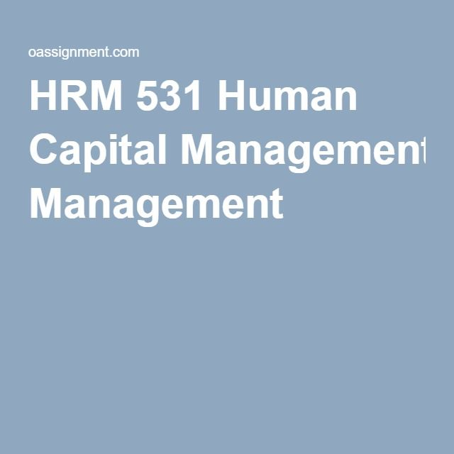 HRM 531 Human Capital Management