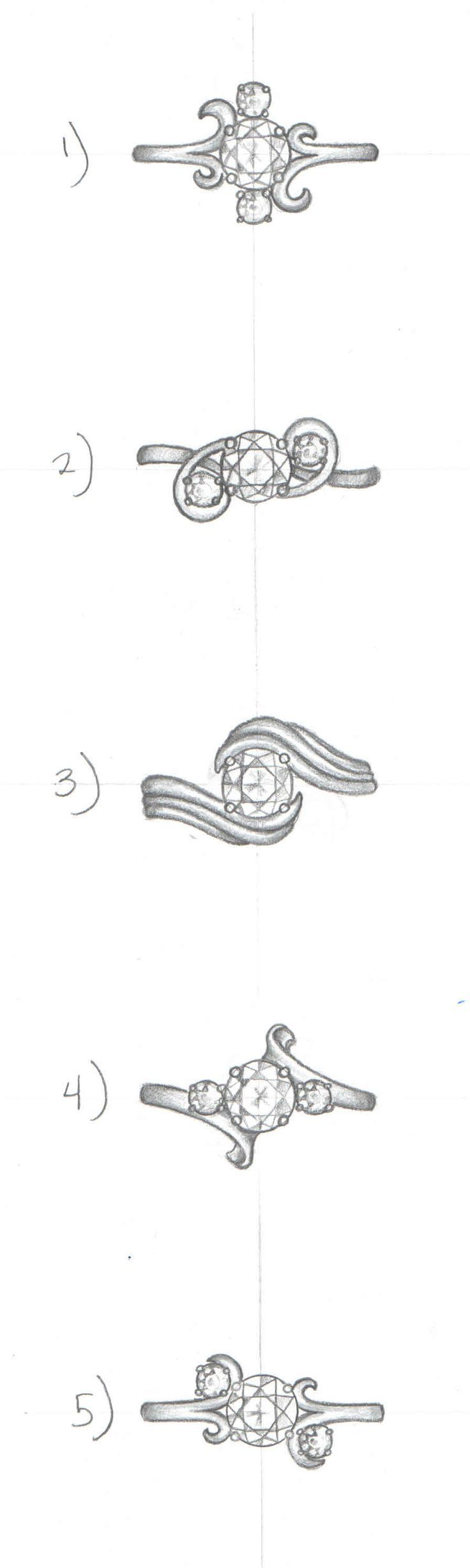 5 Whimsical Design Sketches With The Same 3 Diamonds Gives Our Customer A Great Selection To C Jewelry Design Drawing Jewellery Design Sketches Jewelry Design