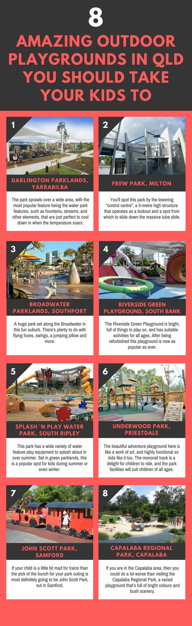 Parents, have you ever visited the top playgrounds in Queensland? These amazing playgrounds can create more fun memories with your children and family. So, You must take your kids out there. Visit here to know more about the top 8 playgrounds in Queensland. #playground #parkplayequipment