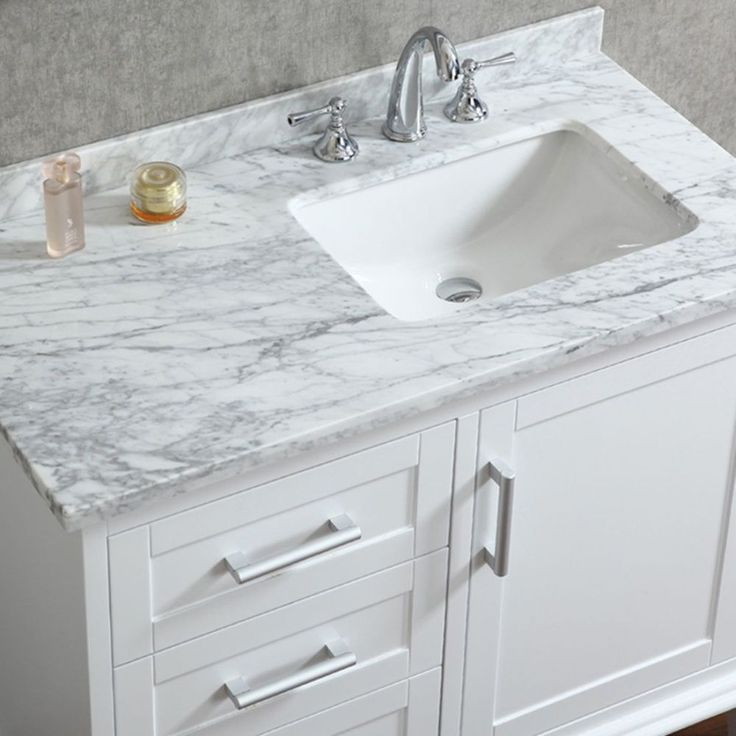 ace 42 inch single sink white bathroom vanity with mirror - Mirrored Bathroom Vanity