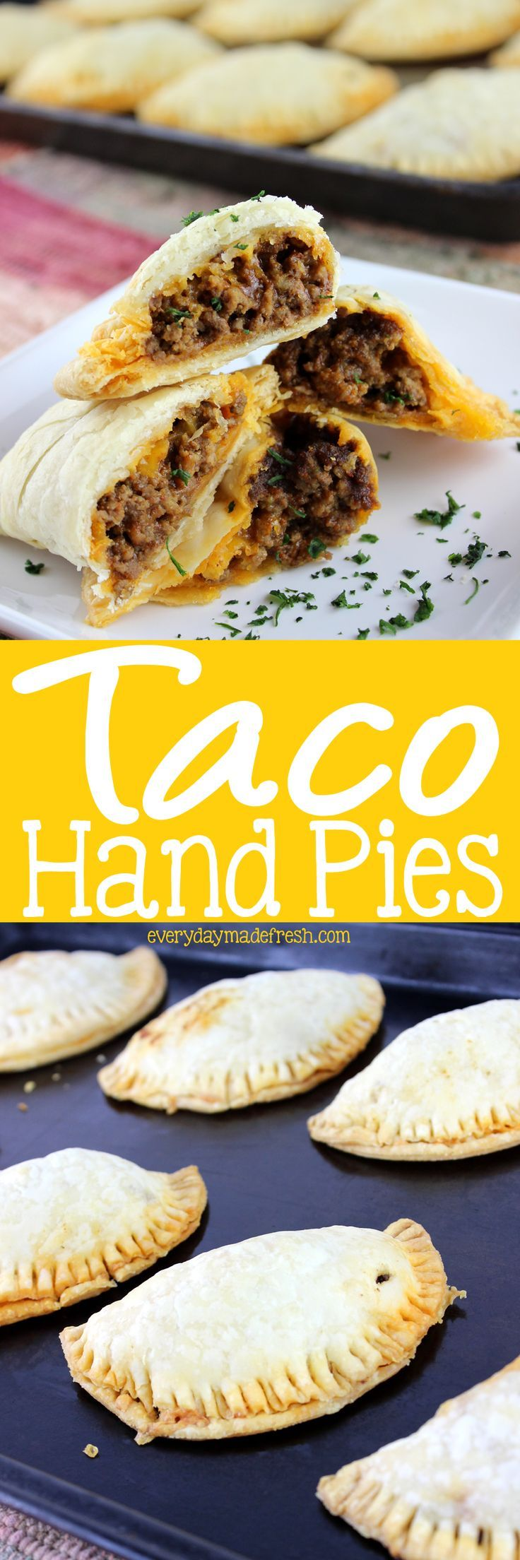 These savory hand pies are the perfect portable snack, lunch, or dinner. Store bought pie dough make these Taco Hand Pies easy! | EverydayMadeFresh.com http://www.everydaymadefresh.com/taco-hand-pies/