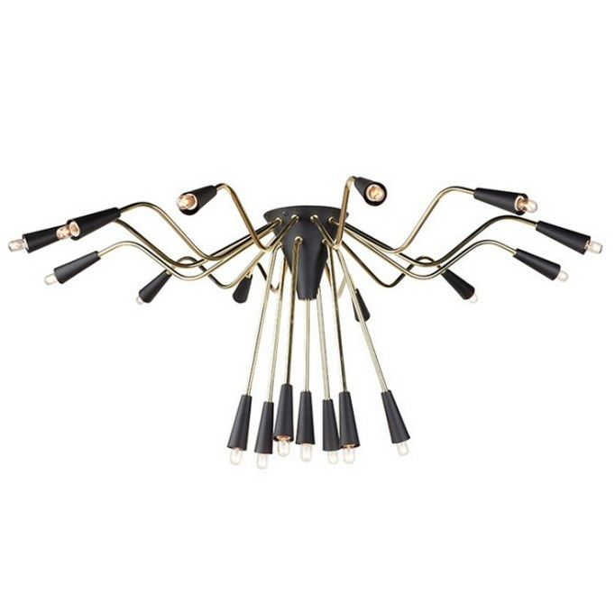 """Black and Gold fixed ceiling mount overall fixed height of 16½"""" takes 19 E12 small base T20 15 watt bulbs, bulbs included    size : ø 40½ x 16¼"""""""
