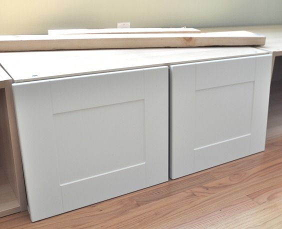 White Ikea Cabinets For Window Seat