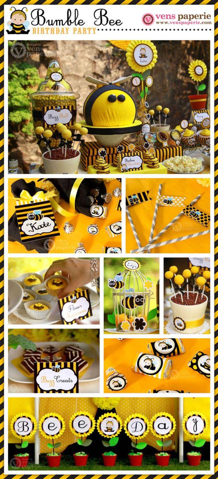 Baby Bumble Bee verjaardagsfeestje pakket gepersonaliseerde volledige collectie Set – afdrukbare DIY