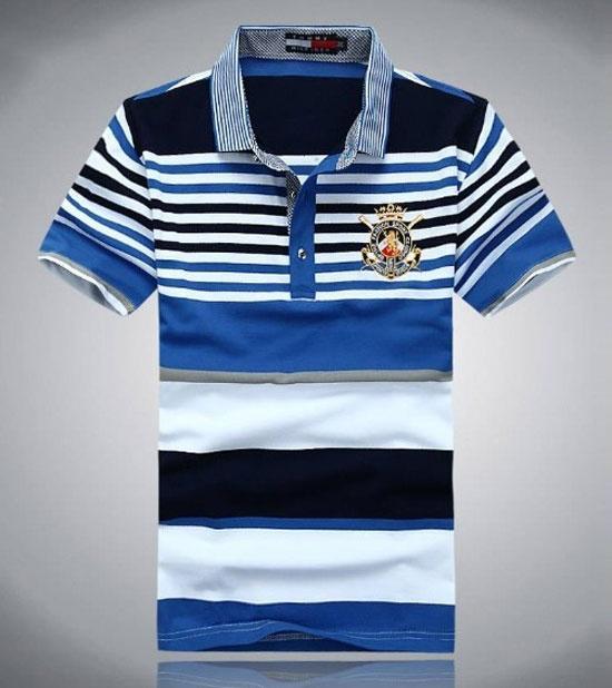 Mens Blue Short Sleeve Tommy Hilfiger Polo T-Shirt - Designer Outlet UK