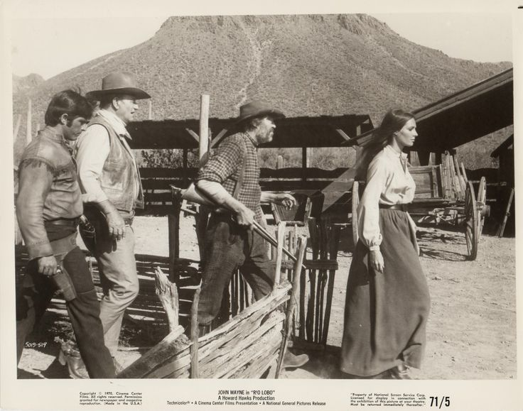 RIO LOBO - John Wayne, Jorge Rivero, Jack Elam & Jennifer O'Neill on location in Durango, Mexico - Directed by Howard Hawks - Publicity Still.