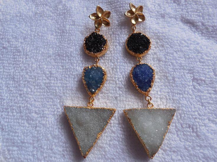 Natural Druzy Earring,24K Gold edge Electroplated Ear dangle,Geode Druzy Gemstone Earring,Druzy Triangle earring,ear jewelry,Boho by InternationalByBeads on Etsy