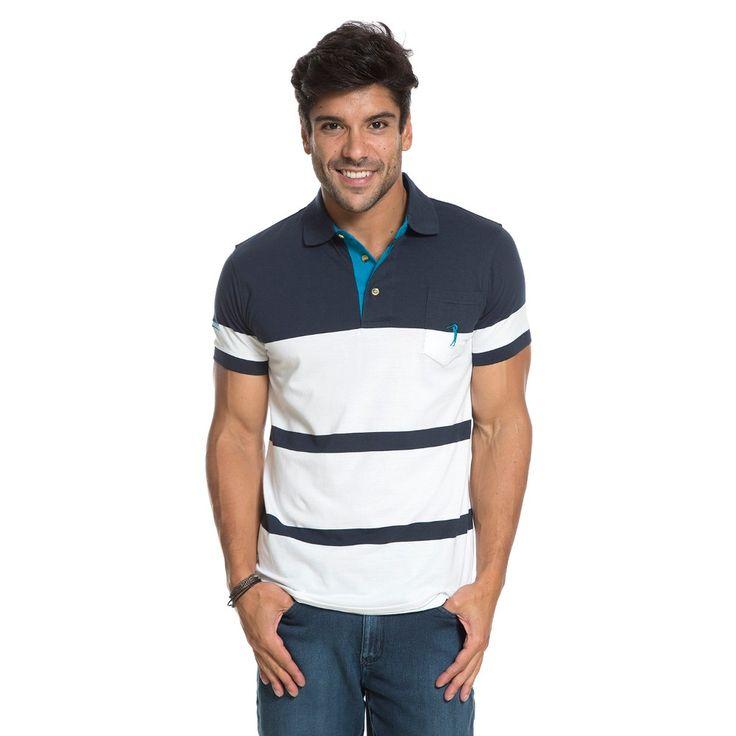 Camisa Polo Aleatory Listrada com Bolso Jans - Aleatory