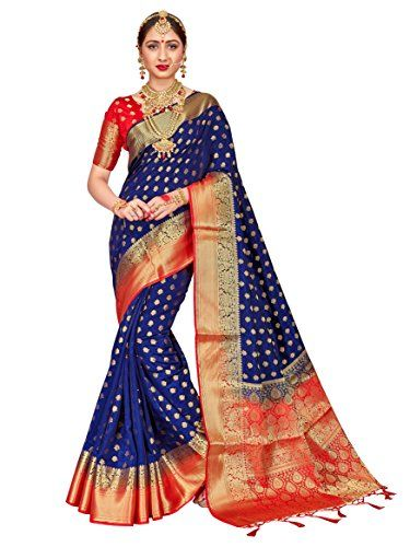cc43ec8e5 ELINA FASHION Sarees for Women Banarasi Art Silk Woven Work Saree l Indian  Wedding Traditional Wear Sari and Blouse Piece (Navy Blue 1)