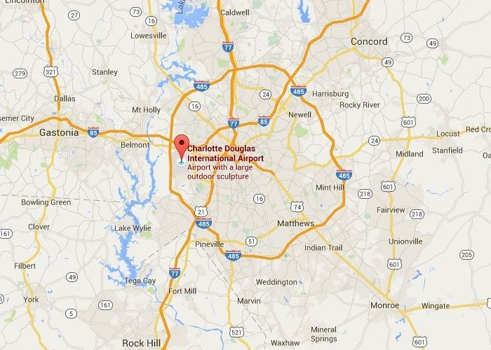 Charlotte North Carolina Douglas International Airport Auctions (CLT), Baggage auction location information map