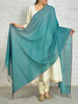 #teal #cotton #silk #kantha #dupatta #jaypore