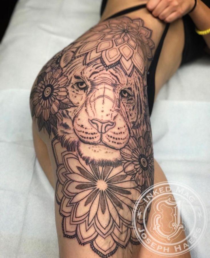 Lion tattoo hip tribal mandala