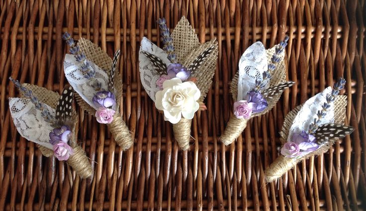 Handcrafted bespoke alternative button holes from Lilly Dilly's. All made exactly to your specifications. www.facebook.com/lillydillys  #button hole #boutonniere #groom #usher #wedding party #alternative #bespoke #hessian #lace #lavender #feather