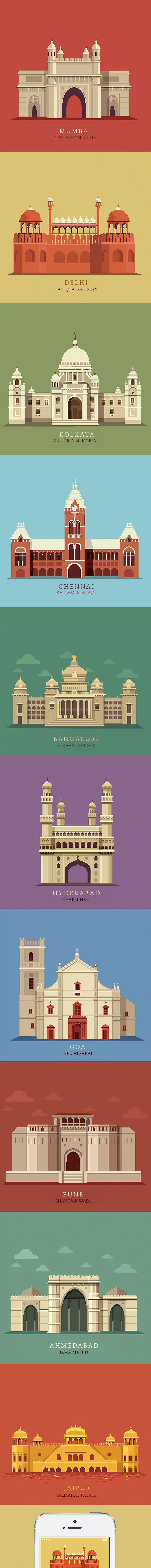 Illustrations of the10 popular cities in India created for the Times Group. Each monument has a very high historic and cultural importance in the cities they are located and are icons for each city.