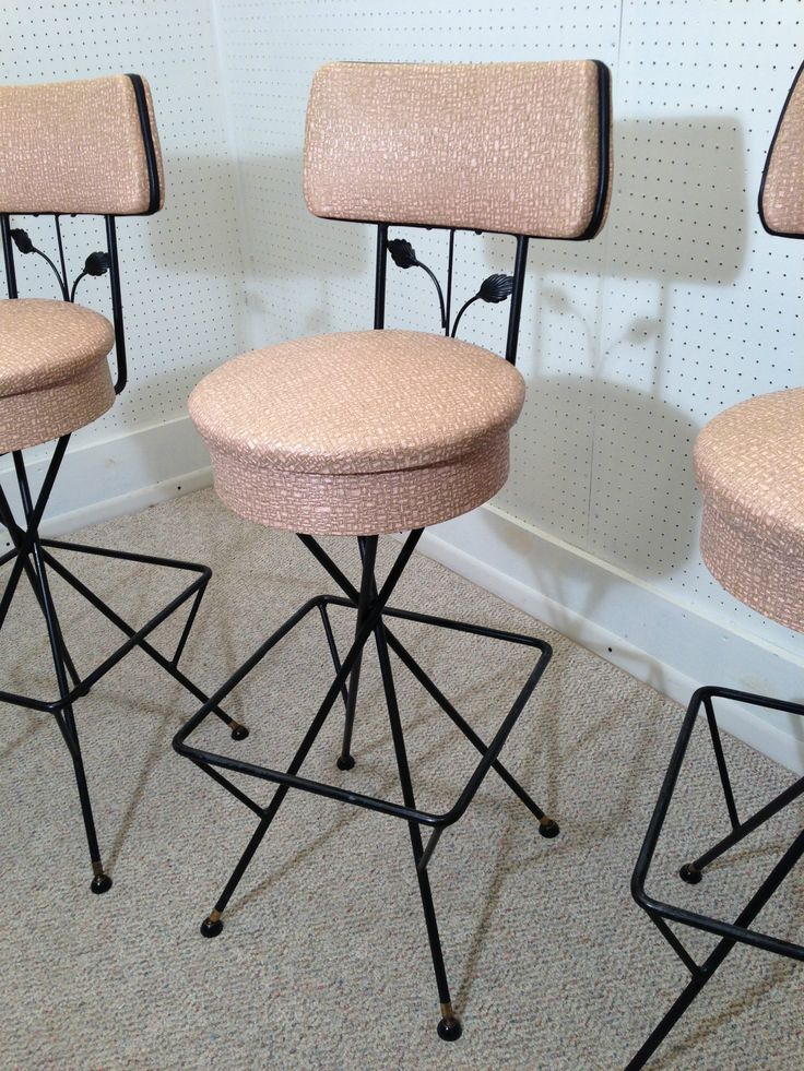 50s Atomic Ranch Retro Bar Stools - Pink Mid Century Modern Weinberg Eames